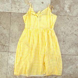 Yellow and White Checkered Dress